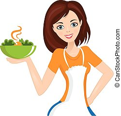 Illustration of woman with bowl. Vector