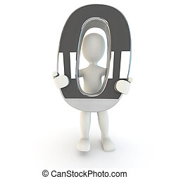3D Human character holding silver number zero