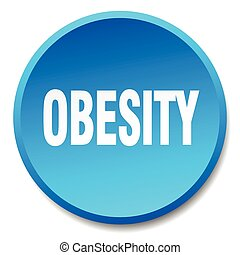 obesity blue round flat isolated push button