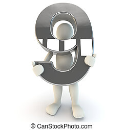 3D Human character holding silver number nine