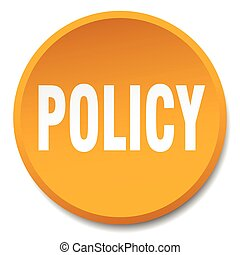 policy orange round flat isolated push button