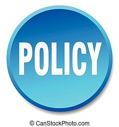 policy blue round flat isolated push button