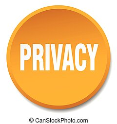 privacy orange round flat isolated push button