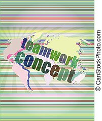 teamwork concept - business growth on touch screen vector illustration