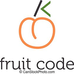 Illustration of concept fruit code. vector