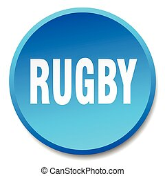 rugby blue round flat isolated push button