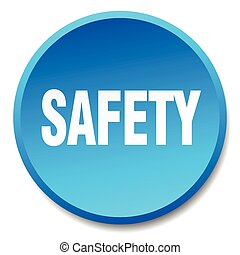 safety blue round flat isolated push button