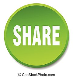share green round flat isolated push button