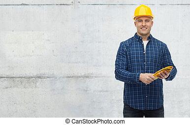 smiling man in helmet with gloves - repair, building,...