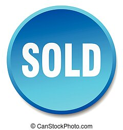 sold blue round flat isolated push button