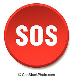 sos red round flat isolated push button