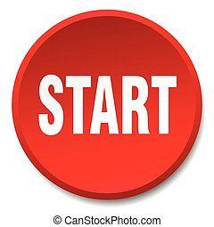 start red round flat isolated push button