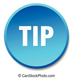 tip blue round flat isolated push button