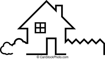 Illustration of house with garden. Vector