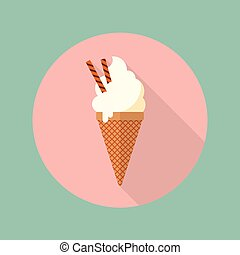 Ice cream cone flat icon with long shadow