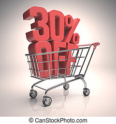 Clearance Shopping Cart - 3D image concept of promotion,...