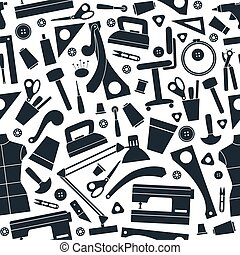 Seamless pattern with image sewing and hobby tools in flat...