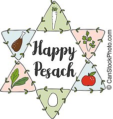 Jewish Pesach Passover greeting card with seder doodle icons...