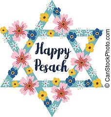 Pesach Passover greeting card with jewish star and flowers,...