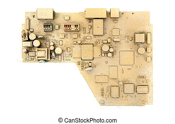 golden logic circuit isolated on the white background
