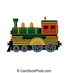Retro Train. Steam Locomotive Icon. Vector