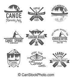 Set of vintage canoeing logo - Set of vintage mountain,...