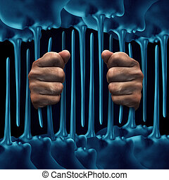 Prison Lies Concept - Prison lies concept as a person behind...