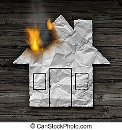 House Fire Concept - House fire concept and residential...