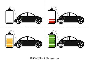 Electric Car Icons - Icons with electric hybrid car loading...