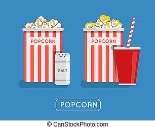 Popcorn food illustration Popcorn in bucket Big popcorn box...