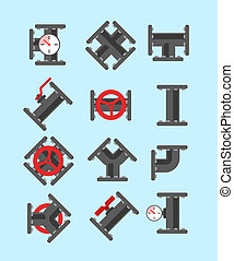 Pipe fitting set Pipeline illustration Pipe fitting for...