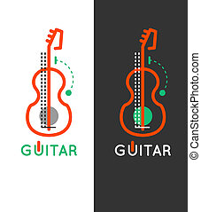 Guitar music shop logo Guitar lessons icon Outline guitar...