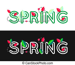 Spring decorative concept Spring text Spring lettering...