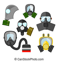 Gas mask set. Gas mask for firefighters and military. Respirator mask. Gas mask with filter. Different kinds of gas mask illustration.