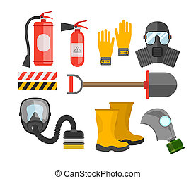 Safety equipment set Fire protection and fire A gas mask and...