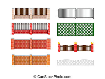Fence illustration. Brick fence and wood fence. Fence around...