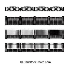Fence illustration Brick fence and wood fence Fence around...
