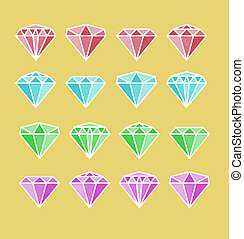 Diamond set Diamond stone illustration Diamond jewels sign...