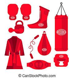 boxeo, diseño, elements., lucha, y, boxeo,...