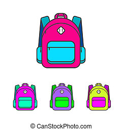 School bag illustration Colorful school bag icon School bag...