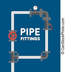 Pipe fitting vector set Pipeline vector illustration Pipe...