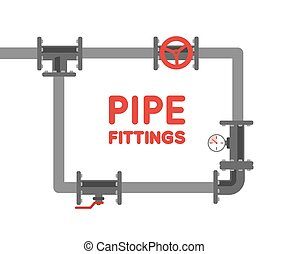 Pipe fitting vector set. Pipeline vector illustration. Pipe...