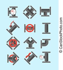 Pipe fitting set. Pipeline illustration. Pipe fitting for...