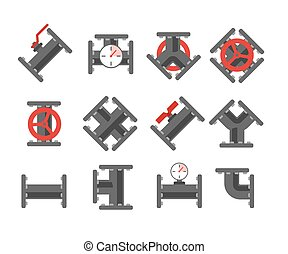 Pipe fitting set. Pipeline vector illustration. Pipe fitting...