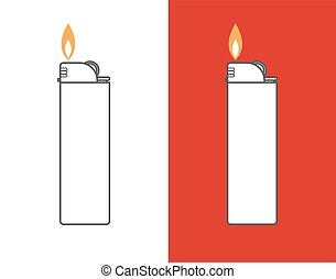 Cigarette lighter illustration Cigarette lighter icon set...