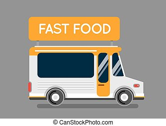 Pizza food truck city car. Food truck, auto cafe, mobile...
