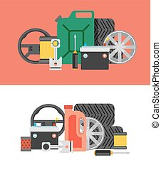 Car parts set Car service icon set Car parts shop banner Car...