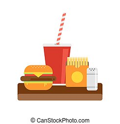 Fresh burger illustration. Traditional American burger with vegetables, ketchup and fried eggs. Hamburger illustration. Burger with meat steak. Fast food burger.