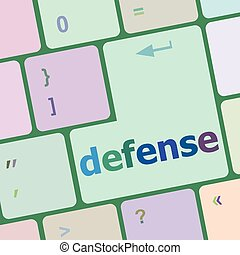 computer keyboard keys with word defense vector illustration