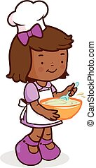 African girl chef cooking - Vector Illustration of a little...